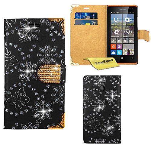 Microsoft Lumia 435 Hülle, FoneExpert® Bling Luxus Diamant Hülle Wallet Hülle Cover Hüllen Etui Ledertasche Premium Lederhülle Schutzhülle für Microsoft Lumia 435 + Bildschirmschutzfolie (Schwarz)