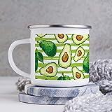 Taza esmaltada de 10 oz para acampar, taza de café esmaltada para acampar, taza de café al aire libre, nutrición vegana vegetal, comida vegetariana, plato de cocina, frutas, vasos con asa, para uso en