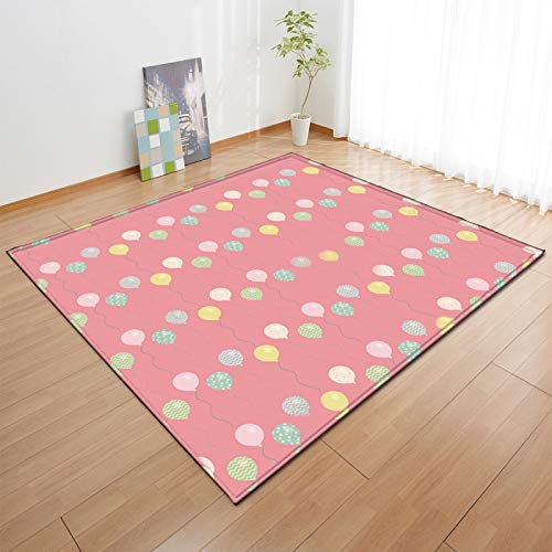 DRTWE Gruesa Alfombra de Terciopelo Suave Antideslizante Alfombra Inferior Kid's Room Play Mat Nursery Floor Pad Cartoon Balloon Pattern Runner Carpet for Living Room Bedroom,200 * 300cm