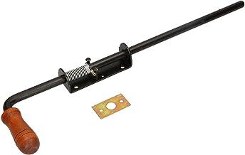 KOTARBAU veergrendel 480 mm boutgrendel deurgrendel grendelgrendel zwart roestvrij houten handvat weerbestendig met vering...