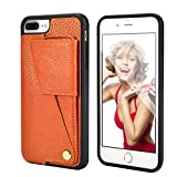 iPhone 8 Plus Wallet Case, iPhone 7 Plus Wallet Case, ZVEdeng iPhone 7 Plus 8 Plus Case with Card Holder Rotational Wallet Case Slim Leather Case for iPhone 8Plus/7Plus 5.5inch-Vibrant Orange