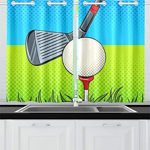 JINCAII Putter Golf Ball Pop Art Stil Küche Vorhänge Fenster Vorhang Stufen für Café, Bad, Wäscherei, Wohnzimmer Schlafzimmer 26 x 39 Zoll 2 Stück