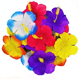 WJBB 90 Pieces Hibiscus Flowers Hawaiian Hibiscus Flowers for Luau Tropical Jungle Party Tabletop Decoration, Assorted Color