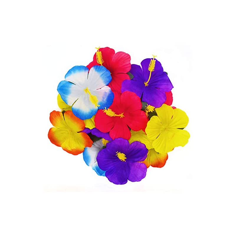silk flower arrangements wjbb 90 pieces hibiscus flowers hawaiian hibiscus flowers for luau tropical jungle party tabletop decoration, assorted color