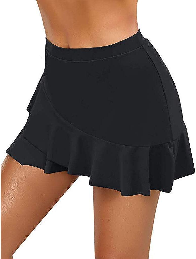 Mikilon Women's Swim Skirt High Waisted Flounce Ruffle Swimming Skort Bikini Bottom Tankini Swimsuit Black