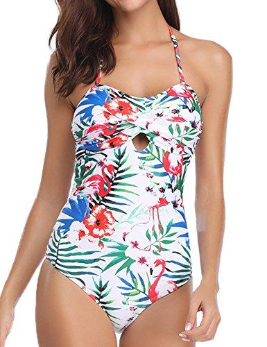 Hawiton Traje de baño de una Pieza de Mujer Halter Traje de baño de Monokini de Espalda Baja Criss Cross Flora