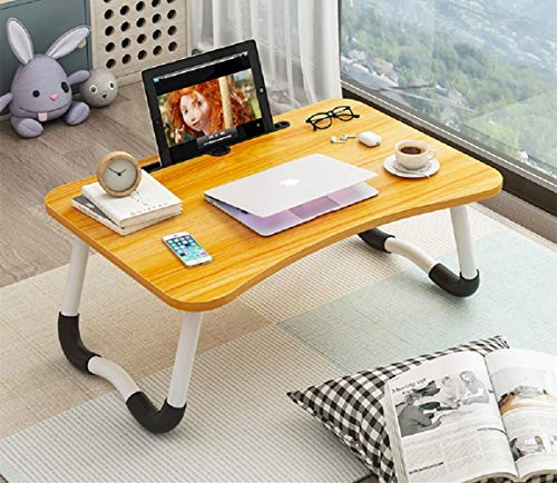 Portable Laptop Desk for Bed - Laptop Bed Table Tray with Foldable Legs and Tablet Slot, Lap Desk, Breakfast TV Tray, Bed Table for Eating and Writing and Laptop on Sofa Couch-Brown