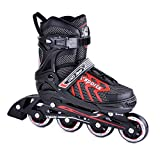 Crazy Loop Adjustable Rollerblades (4M - 6M) for Kids Women Men Adult Boys Girls-Inline Roller Skate Black-Red. Fitness Performance Inline Blades Skates. Patines/Rollers para Hombre o Mujer
