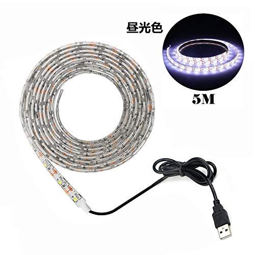 Tira LED De Luz,Led Blanco Tira,Fuente de alimentación USB,Impermeable 5 metros 60leds / m SMD 3528 5V blanco frío, luz de fondo de TV, luz de tira, iluminación LED de cocina con luces LED