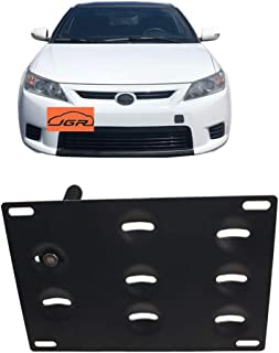 JGR Racing Car No drill Tow Eye Front Bumper Tow Hole Hook License Plate Mount Bracket Holder Adapter Relocation Kit For 2011-2013 Pre-LCI Scion tC
