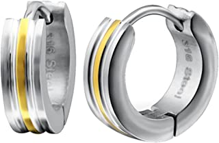 So Chic Jewels High Polish Stainless Steel Huggies with Sand Finish