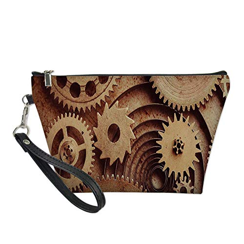 Industrial Decor Useful Cosmetic Bag,Inside The Clocks Theme Gears Mechanical Copper Device Steampunk Style Print for Travel,for Women Makeup Bags Pouch Purse Handbag Organizer