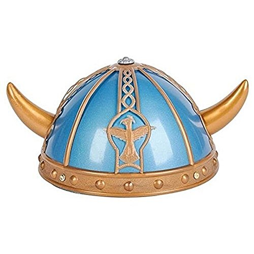 PlayO Viking Helmet with Horns – Perfect Medieval Costume Accessory Blue