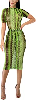 Women's Sexy 2 Piece Outfits Snake Print Sheer Mesh Bodysuit and Bodycon Midi Dress Sets
