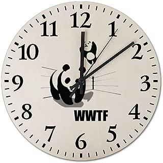 WWF Panda Bear Wrestling Wooden Frameless Silent 12 inch Wall Clock, Suitable for Living Room Guest Room Villa