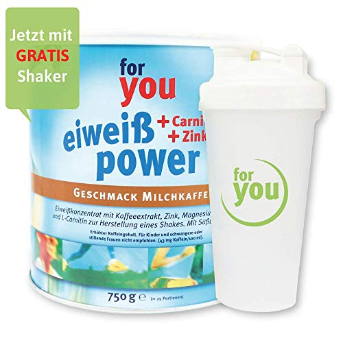 for you Power Eiweiß nach Strunz I Eiweißpulver Milchkaffee 750g + Shaker I mit Carnitin Whey-Protein Sojaprotein Milchprotein I Biologische Wertigkeit 156 I Mehrkomponenten Pulver
