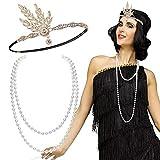 FLOFIA Accessori Costume '20 Anni Fascia Capelli Strass Charleston Collana Perle 1920s per Costume da Donna Ragazza Carnevale Ballo Festa Halloween