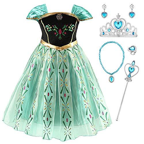 YOSICIL Disfraz Princesa Frozen Anna Verde Niña Infantil niña Bordado Traje Parte Costume de Princesa Fancy Dress Niña Vestido de Cumpleanos de Fiesta Halloween Infantil 3-10Años 100-150cm