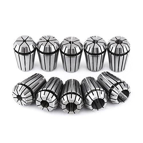 Spannzangen,ER20 Spannzange Elastische Spannzange ER20 Spannbuchse Set Gravur CNC Drehmaschine Fräsen Chuck Tool,aus 65Mn Federstahl,10pcs,(3mm, 1/8