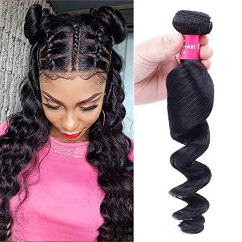 "8A Peruvian Loose Wave Human Hair Bundles Deals 18"" Inch 100% Unprocessed Peruvian Loose Wave Human Hair Weave 1 Bundles Virgin Remy Hair Extensions 100g Natural Color"