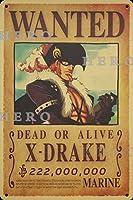 海賊アニメX DRAKEXドレイク さびた錫のサインヴィンテージアルミニウムプラークアートポスター装飾面白い鉄の絵の個性安全標識警告バースクールカフェガレージの寝室に適しています