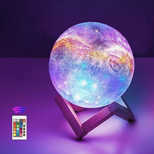12cm Lampada Luna stellata 3D Stampata,OxyLED 16 Colori Telecomando Controllo Touch USB ricaricabile LED Luce Decorativa per Casa Diametro, Decoro per Stanza Letto Mood Light per Camera