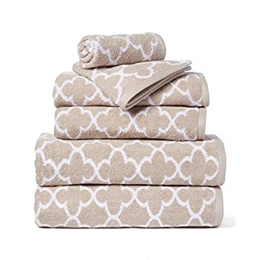 HomeCrate Irongate 600 GSM 100% Cotton 6 Piece Towel Set - Sand/White - Hotel Quality, Super Soft Highly Absorbent