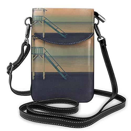 Weiße Holz-Rettungsschwimmer in der Nähe des Meeres bei goldener Stunde, kleine Umhängetasche, Crossbody-Tasche für Handys – Frauen PU-Leder Handtasche mit verstellbarem Riemen für den Alltag