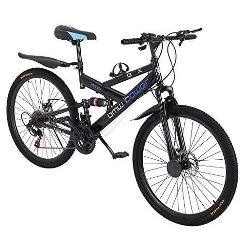 Gorunning 26in Mountain Bike 6-Spoke Rim, Full Suspension Road Bikes with Disc Brakes, 21 Speed Bicycle Full Suspension MTB Bikes for Men/Women Adult & Student
