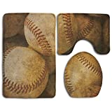 Alfombra de baño Vintage Baseball Backgorund American Sports Theme Nostálgico Cuero Retro Bolas 3 piezas Esteras de baño Set Contorno Alfombra y Tapa