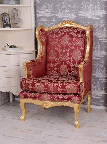 BAROCKER OHRENSESSEL KÖNIGLICHER THRON ROT Gold ANTIK Sessel Palazzo Exclusiv