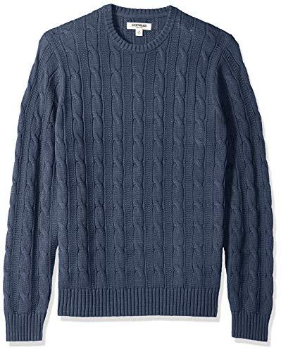 Amazon Brand - Goodthreads Men's Soft Cotton Cable Stitch Crewneck Sweater