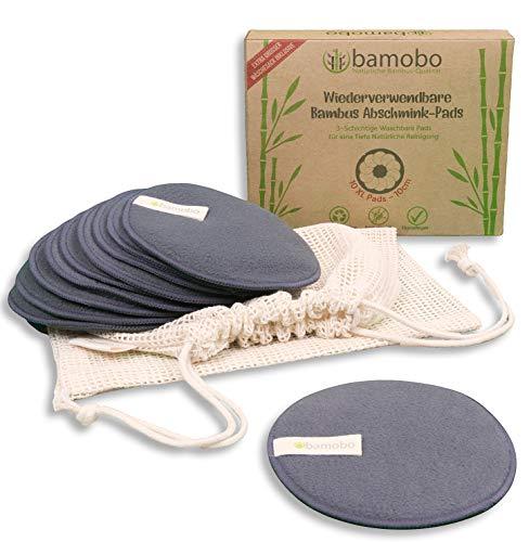 10 XL Waschbare Abschminkpads Bambus Aktivkohle | Wiederverwendbare Wattepads Groß | Makeup Abschminktücher Wiederverwendbar | Bambus Aktivkohle Pads Waschbar Eco | Nachhaltige Make-Up Kosmetikpads