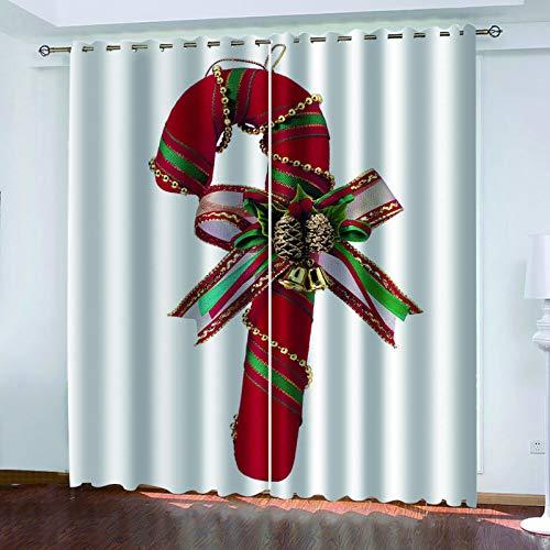 MMHJS Weihnachts 3D Bedruckte Stoffvorhänge, Schlafzimmer Und Wohnzimmer Sonnenschutz Vorhänge, Wasserdicht Und Wärmeisolierung, Möbelzubehör (2 Stück)