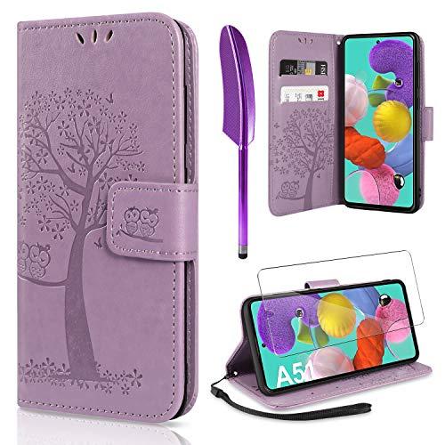 AROYI Handyhülle für Samsung Galaxy A51 Hülle + Schutzfolie, Galaxy A51 Klapphülle Hülle PU Leder Flip Wallet Schutzhülle für Samsung Galaxy A51 Tasche (Lila)