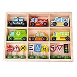 Tooky Toy Fahrzeuge und Straßenschilder aus Holz - Holz-Auto Spielzeug-Auto Verkehrspiel Kinder-Spielzeug Aufbewahrungsbox - mit Polizeiauto, Feuerwehrauto, Krankenwagen, Taxi, Ampeln UVM.