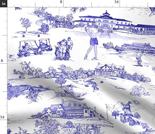 Spoonflower Fabric - Golf White Blue Print Toile Historical Sport Retro Nature Nursery Printed on Modern Jersey Fabric by The Metre Fashion Apparel Clothing with 4-Way Stretch