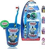 Thomas Premium - Cepillo de dientes de cerdas suaves – Cepillo de dientes manual, tapa de cubierta, taza de enjuague para niños y niñas y niños, perfecto para regalos de cumpleaños