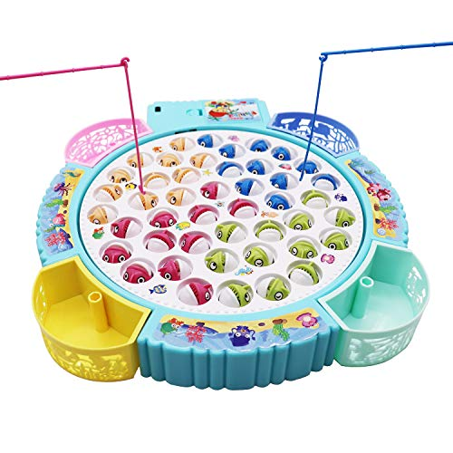 Fishing Game Toy Pole and Rod Fish Board Rotating with Music Includes 45 Fish and 4 Fishing Poles Fine Motor Skill Training Great Birthday for Children Kids Toddles Boys Girls