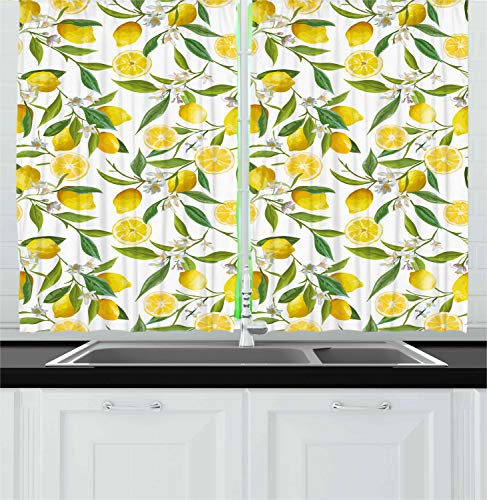 "Ambesonne Nature Kitchen Curtains, Exotic Lemon Tree Branches Yummy Delicious Kitchen Gardening Design, Window Drapes 2 Panel Set for Kitchen Cafe Decor, 55"" X 39"", Green White"