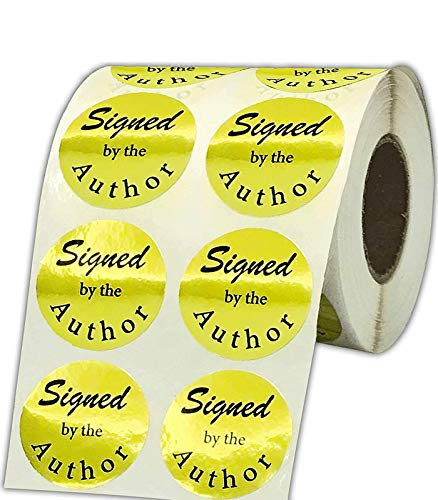 Signed by The Author Stickers 1008 PCS/Roll - Round Signed Labels - 1.5 Inch Gold Laminated Foil Author Sticker