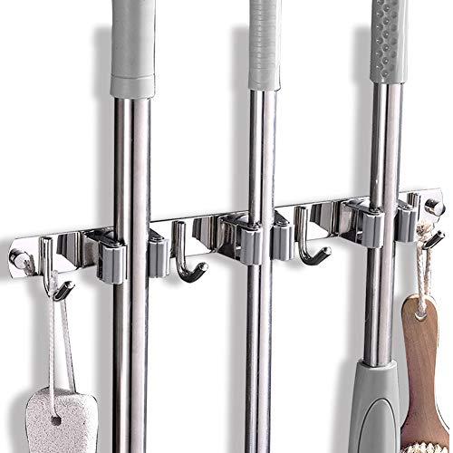 Porta scopa per scopa, strumento organizzatore a parete in acciaio inossidabile per cucina, garage, giardino, terrazzino, organizzazione e stoccaggio del bagno (3 rack 4 ganci)