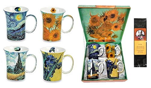 4 Van Gogh Classics Coffee or Tea Mugs in a Matching Box Bundle with