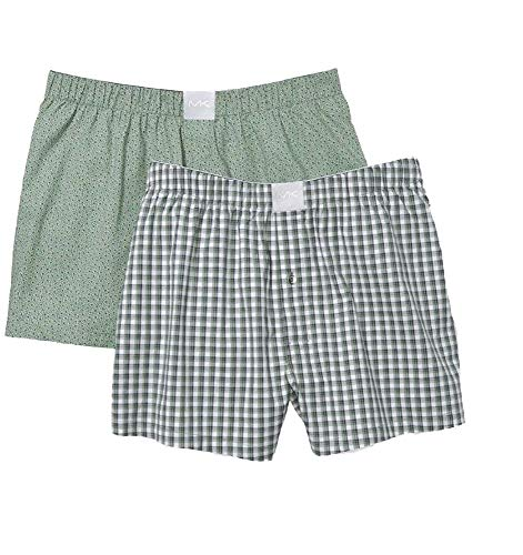 Michael Kors Men's Cotton Underwear Airsoft Touch Stretch Woven Boxers 2-Pack S83W1052 (Clover Ditsy/Check, Small)