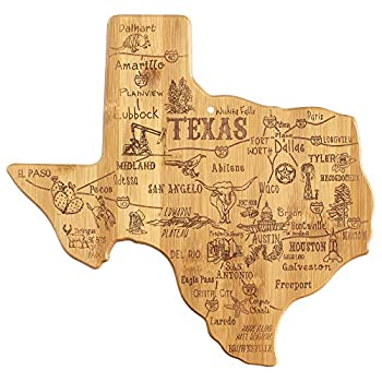 Totally Bamboo Destination Texas State Shaped Serving and Cutting Board Includes Hang Tie for Wall Display