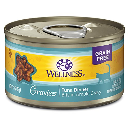 Wellness Natural Pet Food Complete Health Gravies Grain Free Canned Cat Food, Tuna Dinner, 3 Ounces (Pack of 12)