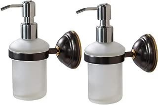 Crown Hand Soap Dispenser Oil Rubbed Bronze Wall Mount Liquid Soap Dispenser for Bathroom Kitchen Sink Dish Wash, Solid Brass Holder-Rust Resistance, Chrome Pump (8 oz) 2 Pack