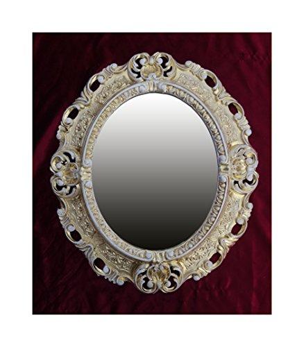 OVAL in Gold - Weiß Dualcolor WANDSPIEGEL Spiegel REPRO 45x38 ANTIK BAROCK Rokoko REPLIKATE Renaissance BAROCKSTIL