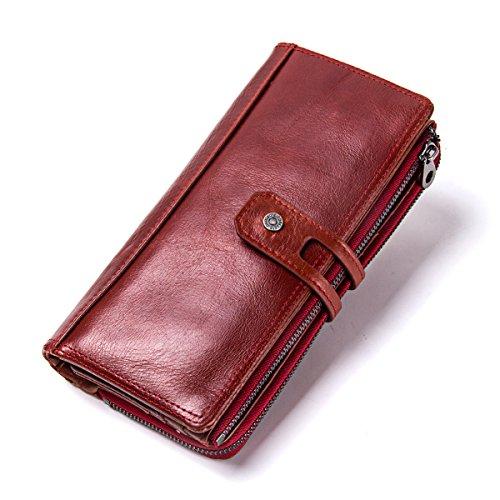 Contacts Echtes Leder Frauen Sekretär Scheckheft Handyhalter Reißverschluss Geldbörse (rot)