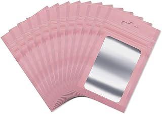 100 Pcs Sacs Pochette Plastique en Aluminium Sachet Zip Refermable Alimentaire Anti-Odeur avec Fenêtre Transparente pour S...